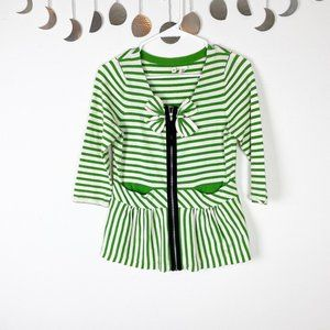 Anthropologie Moth Green and White Striped Bow Top